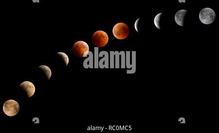 Pleine lune phases eclipse sur fond noir, 2018 Banque D'Images