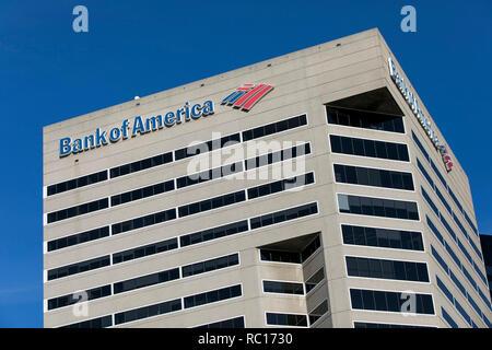 Un logo affiche à l'extérieur d'un établissement occupé par Bank of America, à Baltimore, Maryland le 11 janvier 2019. Banque D'Images