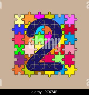 Le numéro 2 est composé de pièces de puzzles multi-couleur Banque D'Images