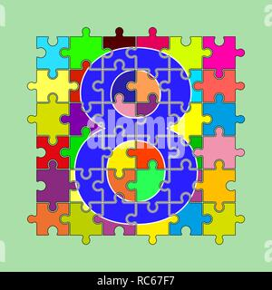 Numéro 8 est composé de pièces de puzzles multi-couleur Banque D'Images