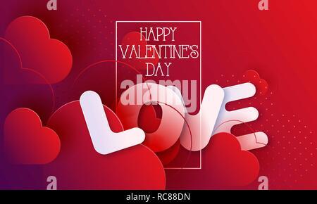 Le cœur sur l'amour abstrait arrière-plan avec coeurs. 14 février. Carte de Saint-Valentin, la bannière. Coeur rouge 3d de formes complexes. Vector illustration Banque D'Images