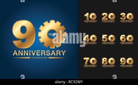 Ensemble d'anniversaire logotype. Célébration de l'anniversaire de la conception de l'emblème doré pour brochure, dépliant, affiche, brochure, magazine, web ou un message d'invitation Banque D'Images