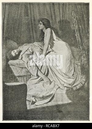 Une plaque reproduit d'une peinture de Philip Burne-Jones. Remarque: La qualité de la plaque dans le livre n'est pas de bonne qualité. L'image montre une femme-vampire en équilibre au-dessus d'un homme endormi. Le Vampire. Un poème ... Écrit pour une photo par Philip Burne-Jones expose à la Nouveau Gallery de Londres, 1897. [Avec une reproduction de la photo.]. [Washington: Woodward & Lothrop, 1898]. Source: Cup.402.a.30 frontispice plaque. Banque D'Images