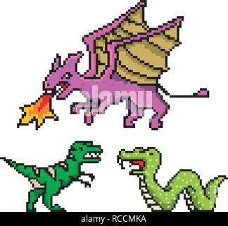 Pixel Art 8 bits en objets. Dragon Serpent de dinosaures. Jeu rétro actif. Ensemble d'icônes. Ordinateur Vintage video arcades. Vector illustration. Banque D'Images