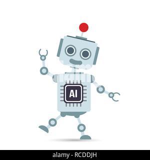 La technologie d'intelligence artificielle ia caricature robot élément design vector illustration eps10 Banque D'Images