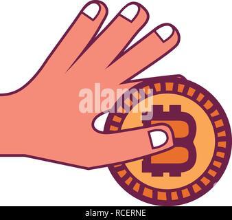 Main tenant bitcoin Banque D'Images