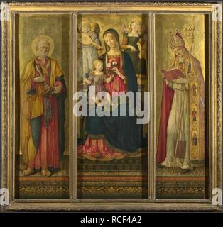 Vierge et enfant avec les Saints Pierre et Nicholas. Musée: National Gallery, Londres. Auteur: Benvenuto di Giovanni. Banque D'Images