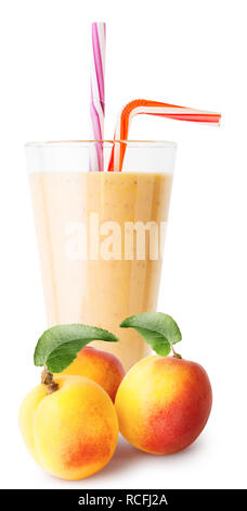 Verre de smoothie à l'abricot ou du yaourt aux abricots Banque D'Images