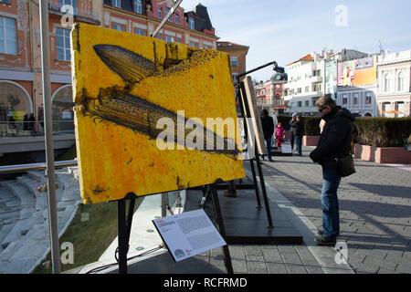 Plovdiv, Bulgarie - capitale européenne de la culture 2019. Street art sur un segment du mur de Berlin, l'exposition en plein air Banque D'Images