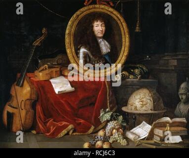 Allégorie de Louis XIV, protecteur des arts et des Sciences. Musée: Musée de l'histoire de la France, Le Château de Versailles. Auteur: JEAN GARNIER. Banque D'Images