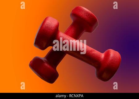 Haltères en rouge sur un magnifique cadre isolé dans la salle de sport Banque D'Images