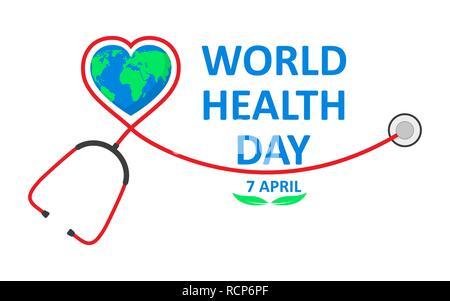 La Journée mondiale de la santé poster avec stéthoscope dans télévision design. Vector illustration. Globe signe et stéthoscope, ecology concept, Banque D'Images