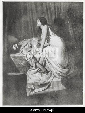 """La reproduction de la peinture, 'le vampire', par Sir Philip Burne-Jones. Le portrait d'une femme fatale vampire penché sur sa victime de sexe masculin. Le modèle pour l'Philipâ a vampire Mme Patrick Campbell, une actrice. En 1897, il affiche la peinture lors d'une exposition avec un poème """"Les Vampire†par son cousin, Rudyard Kipling, qui décrit la folie d'un homme se permettant d'être détruit par une femme sans coeur. Cette exposition a eu lieu seulement quelques mois avant l'Stokerâ Dracula a été la première à imprimer. Rudyard Kipling aurait été inspiré pour écrire son poème ''Vampire'' après l'affichage Banque D'Images"""