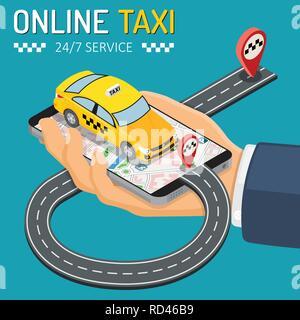 Taxi en ligne Concept isométrique Banque D'Images