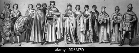 L'histoire culturelle dans l'antiquité, de gauche à droite: l'empereur romain Justinien, 484-565, avec les responsables de la cour et de garde, son épouse l'Impératrice Banque D'Images