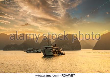 Coucher de soleil sur les îles de la Baie d'Halong au nord du Vietnam. Banque D'Images