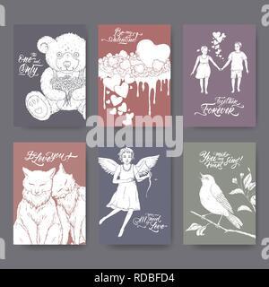 6 format A4 cartes de la Saint-Valentin avec ours, gâteau, chats, cupidon, garçon et fille, et la brosse avec oiseau lettrage. Banque D'Images