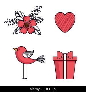 Définir les icônes de happy Valentines Day Banque D'Images
