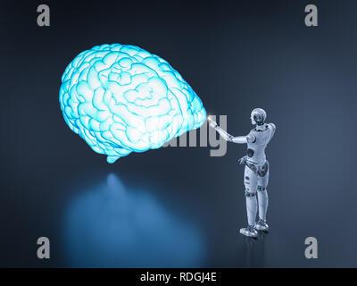 L'intelligence artificielle concept cerveau avec rendu 3d avec robot cerveau brillant Banque D'Images