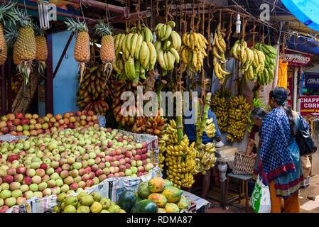 Étal de fruits, Conemara marché, Trivandrum, Kerala, Inde Banque D'Images