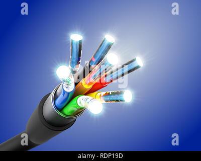 Connexion du câble de fibre optique, 3D Rendering Banque D'Images