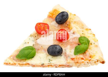 Margarita Pizza Margherita slice isolé sur fond blanc Banque D'Images