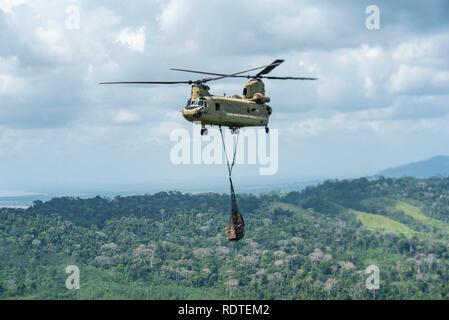 Un CH-47 Chinook de l'armée américaine effectue des fournitures à la province de la République de Panama, le 9 janvier 2019. Les fournitures étaient pour le Service national des frontières qui sont la construction d'un nouvel avant-poste dans la jungle pour arrêter le trafic des réseaux. (U.S. Photo de l'Armée de l'air par la Haute Airman Destinee Sweeney) Banque D'Images