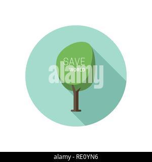 L'icône de l'arbre vert. Banque D'Images
