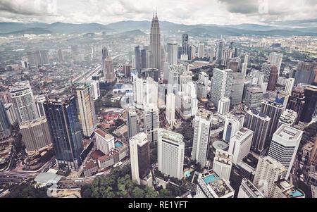 L'horizon de Kuala Lumpur, Malaisie, photo aux tons de couleur. Banque D'Images