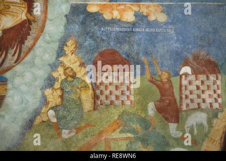 Caïn et Abel faire leurs offrandes à Dieu. Fresque de l'icône russe peintres Gury Nikitin et Sila Savin (1680) à la tribune nord (papert) de l'Église du prophète Élie à Iaroslavl, Russie.