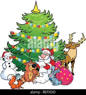 L'illustration montre le bonhomme de neige et le Père Noël, qui lit la liste de cadeaux des fêtes pour les animaux sur l'arrière-plan d'arbre de Noël.