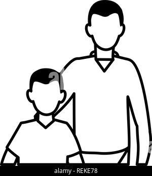 Père et fils sur fond blanc, vector illustration