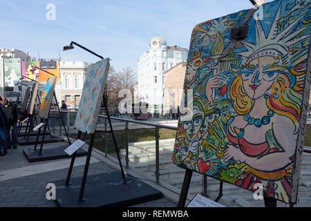 Plovdiv, Bulgarie - capitale européenne de la culture 2019. Street art sur un segments du mur de Berlin, l'exposition en plein air Banque D'Images