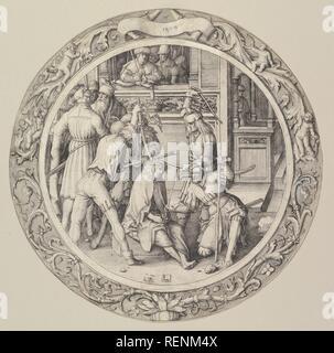 Le Christ couronné d'épines, à partir de la circulaire de la Passion. Artiste: Lucas van Leyden (Leiden, Russisch ca. Leyde 1494-1533). Date: 1509. Musée: Metropolitan Museum of Art, New York, USA. Banque D'Images