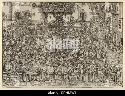 Le premier tournoi. Artiste: Lucas Cranach l'ancien (allemand, Kronach 1472-1553 Weimar). Fiche Technique: Dimensions: 10 × 14 1/2 9/16 in. (26,6 × 37 cm). Date: 1506. Musée: Metropolitan Museum of Art, New York, USA. Banque D'Images