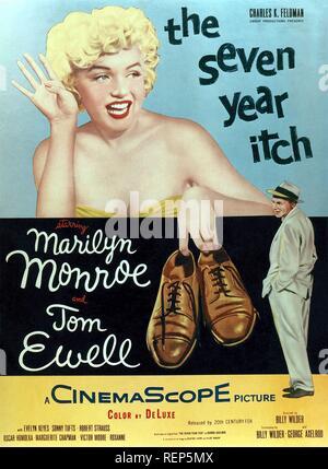 Les sept ans démangent Année: 1955 USA Réalisateur: Billy Wilder Tom Ewell , Marilyn Monroe Poster (USA) Banque D'Images