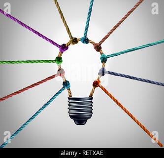 Centre de création et de créativité de travailler ensemble comme une réussite de l'entreprise concept comme un groupe d'inspiration idée connexion aussi divers câbles. Banque D'Images
