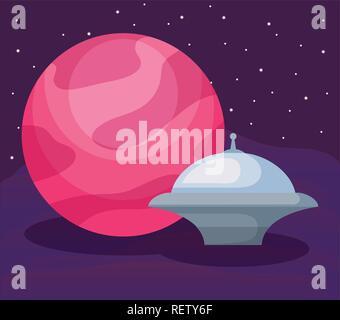 Vaisseau spatial autour de planète dans l'espace arrière-plan, design coloré. vector illustration Banque D'Images