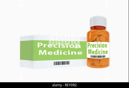 3D illustration de la médecine de précision titre sur bouteille de pilules, isolé sur blanc. Banque D'Images