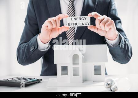 Portrait of businessman holding carte papier près de calculatrice et lampes sur fond blanc, l'efficacité énergétique à la maison concept Banque D'Images