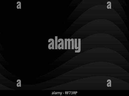 Abstract black design incurvé couche se chevauchent sur fond foncé style papier. Vector illustration Banque D'Images