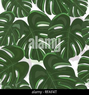 Les feuilles colorés tropicaux monstera arrière-plan. Tropic dessiné à la main motif répété des feuilles Banque D'Images