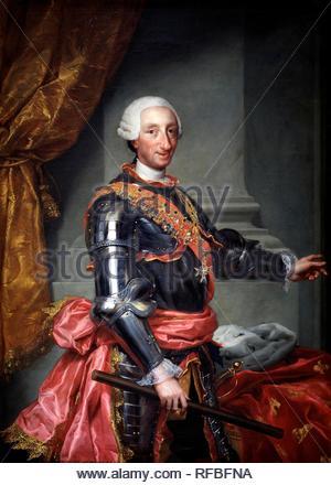 """Anton Rafael Mengs / """"Carlos III"""", ca. L'école allemande, 1761, huile sur toile, 151,1 cm x 109 cm, P02200. Musée: Musée du Prado. Auteur: ANTON RAPHAEL MENGS,. MENGS, ANTON RAFAEL (COPIA). Banque D'Images"""