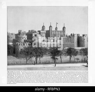 La Tour de Londres, Londres, 1893 Photographie Ancienne Banque D'Images