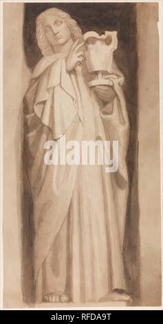 Saint Jean l'Evangéliste. Artiste: John Flaxman (1755-1826) New York, Londres. Fiche Technique: Dimensions: 28 × 15 15/16 1/16 in. (73,5 × 38,3 cm). Date: ca. 1811. Flaxman fait ce dessin pour illustrer son premier cours en tant que professeur de sculpture à l'Académie Royale, livrée en 1811. Conçu pour être vu de loin, le traitement est délibérément très large. Saint John est l'un d'une série de statues installées dans des niches ornant les murs de la chapelle à l'abbaye de Westminster Dame autour de la tombe de Henry VII. La chapelle elle-même est considéré comme le dernier grand chef-d'œuvre de l'anglais de l'architecture médiévale, desc Banque D'Images