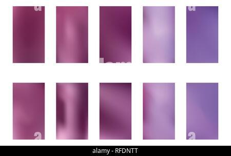 Ensemble de la nature floue pourpre violet foncé et rose fond bleu. Bon modèle de page. Modifiable facile d'illustration vectorielle aux couleurs douces. Écologie co Banque D'Images