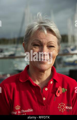 Marin britannique Tracy Edwards, qui skippé le premier équipage féminin dans la Whitbread 1989 Course sur son yacht de Maiden, photographié en novembre 2018 Banque D'Images
