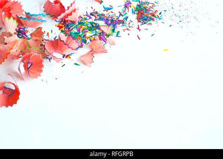 La poussière et des copeaux de crayon de couleur Crayon de Banque D'Images