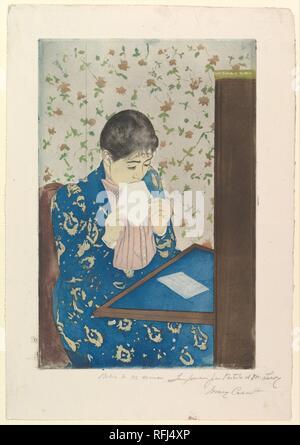 La lettre. Artiste: Mary Cassatt (Américain, Pittsburgh, Pennsylvanie 1844-1926 Mesnil-Théribus, Oise). Dimensions: Plateau: 13 15/16 5/8 x 8 in. (34,6 x 22,7 cm): feuille 17 x 11 3/4 in. (43,2 x 29,8 cm). Date: 1890-1891. Musée: Metropolitan Museum of Art, New York, USA. Banque D'Images