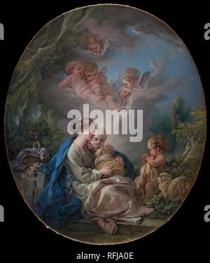 "§Franà ois Boucher (Français, Paris 1703â€""1770 Paris) vierge et l'enfant avec le jeune Saint Jean-Baptiste et des anges, 1765 huile sur toile, ovale, 16 1/8 x 13 5/8 in. (41 x 34,6 cm) le Metropolitan Museum of Art, New York, Don de Marie Milton de Groot, en mémoire de la famille de Groot et Hawley, 1966 (66,167) http://www.metmuseum.org/Collections/search-the-collections/435744 Banque D'Images"
